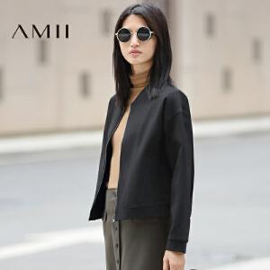 【AMII超级大牌日】[极简主义]2017年春装新款纯色立领运动休闲宽松外套女11642436