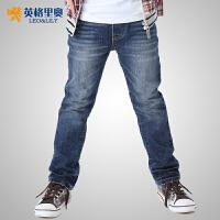 英格里奥童装男童冬装双层加厚裤子 休闲牛仔裤601D
