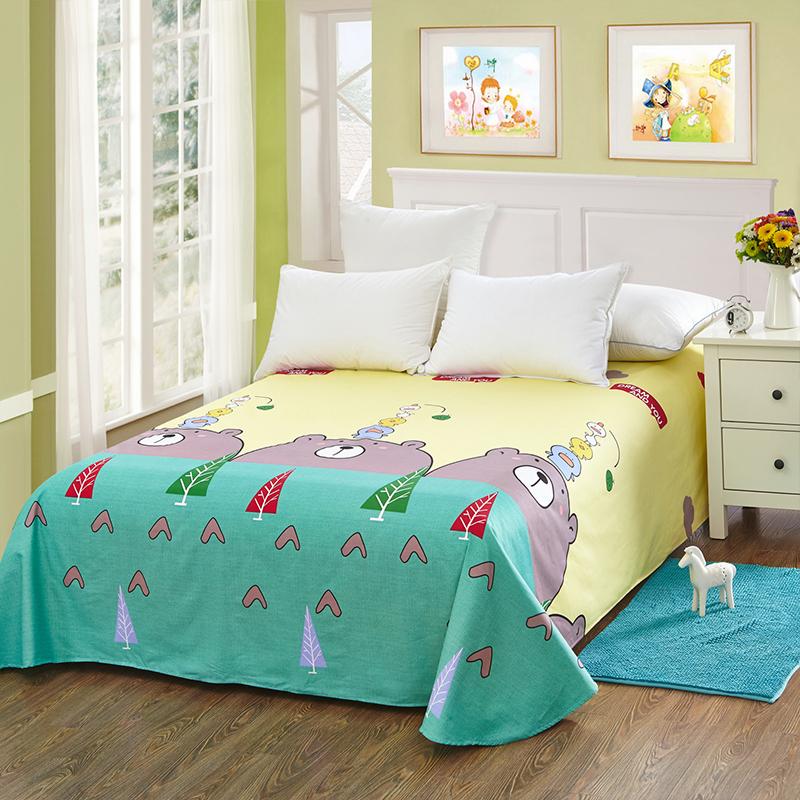 当当优品 纯棉斜纹床上用品 床单200*230cm 小青春(黄)当当自营 100%纯棉 不易褪色 环保印染 透气防潮