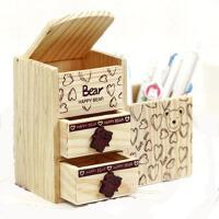 韩国创意文具 可爱小熊 双层抽屉木制收纳盒 笔筒JJC203