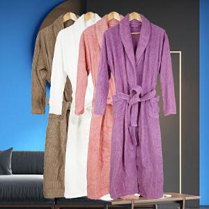 【货到付款】纯棉暗条中长款浴衣 男女浴袍/浴裙 多色多号可选 睡袍 浴巾