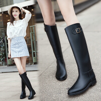 女式雨靴瘦腿修身马靴韩国百搭时尚女士高筒雨鞋保暖水鞋