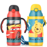 包邮!迪士尼 维尼儿童水杯 防漏吸管杯 麦昆汽车宝宝400ML水瓶 婴儿学饮杯宝宝保温杯 手柄背带款