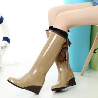 女士雨靴高筒雨鞋时尚蝴蝶结修身水鞋长筒坡跟防滑胶鞋套鞋