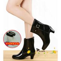 女式高筒雨鞋雨靴韩版时尚款女雨靴女水鞋保暖内棉两用鞋