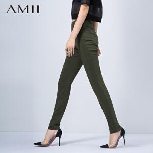 【AMII超级大牌日】[极简主义]2017年春季女通勤纯色修身大码中高腰拉链窄脚长裤11541087
