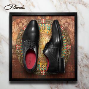 宾度男鞋新品男士正装鞋英伦商务皮鞋系带牛皮鞋宴会婚鞋