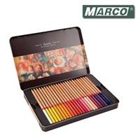 填色 MARCO马可 3100-48TN 雷诺阿原木杆彩色铅笔 油性彩铅 48色铁盒装送转笔刀