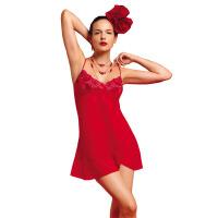 专柜正品体会睡衣 女 夏 雪纺 蕾丝 透明 低胸性感立体罩吊带睡裙