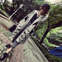 2015女装新品外套 抽象印花气质休闲宽松气质款毛线大衣大码毛衣披肩
