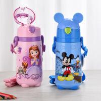 包邮!迪士尼 Disney 保温杯 儿童吸管保温杯 350ML防漏背带保温水壶5672 五色可选!