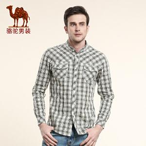 CAMEL 骆驼  新款男士格子衬衣 商务休闲棉质长袖衬衫