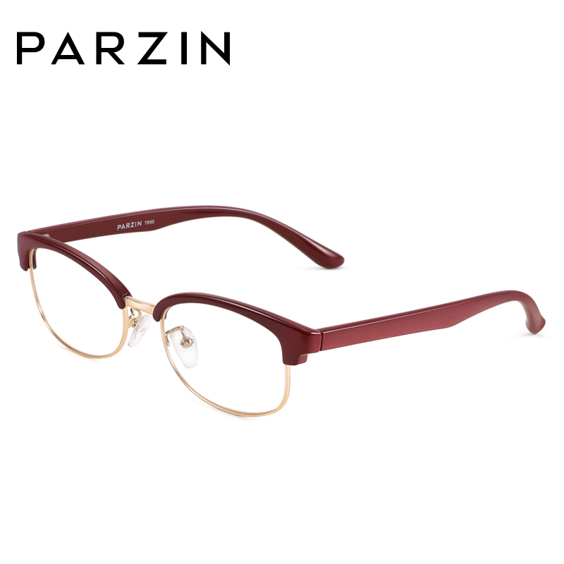 帕森新款眼镜架潮半框男女tr90复古眼镜框可配近视平光眼镜架5026_酒