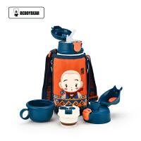 包邮!迪士尼3D立体图案水杯500ML儿童水壶 背带吸管杯 宝宝保温杯 便携防漏杯