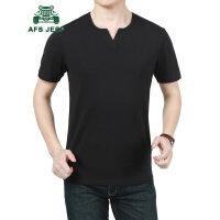 战地吉普AFS JEEP男装V领T恤 男夏季半袖T恤衫 男士薄款纯色短袖t恤