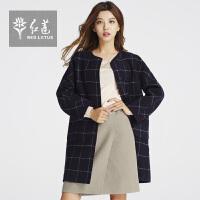红莲2015冬装新款女装格子毛呢外套女韩版圆领中长款羊毛大衣女冬