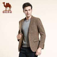 骆驼男装 秋季新款长袖便服单西 男士单排扣商务休闲西服