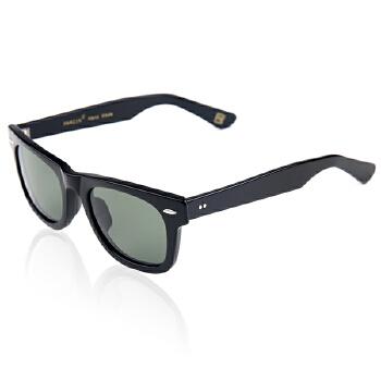 帕森 板材偏光太阳镜 情侣款复古男女时尚太阳眼镜 偏光墨镜 2140_黑