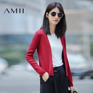 【AMII超级大牌日】[极简主义]2017年春新修身纯色开襟显瘦曲珠纱毛针织衫11673006