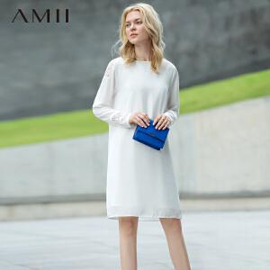 【AMII超级大牌日】[极简主义] 2017年春新品纯色蕾丝拼接大码长袖连衣裙11641834