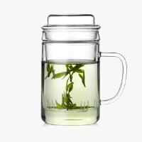 当当优品 绅士玻璃茶杯 高硼硅玻璃 手工吹制 茶水分离 玻璃茶漏 茶具 400ML