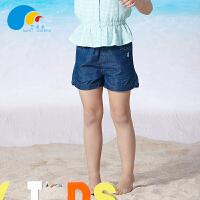 三点水童装夏装上新女中大童高腰短裤口袋带钻百搭儿童牛仔热裤