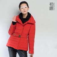 初语 纯色加厚女装外套中长款修身保暖棉衣 346107043