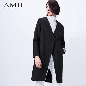 【AMII超级大牌日】 [极简主义]2017V领纯色提花长袖斜开叉修身大码外套11581643