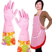 维特尔长袖洗碗清洁手套 家务保暖手套+PVC围裙套装围裙+手套两双JJA253