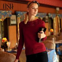 【2件7折,3件6折】OSA欧莎世家毛衫秋季新款女装镂空手工钩花秋装套头毛衣女