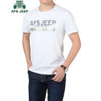 战地吉普AFS JEEP短袖t恤男 男士圆领T恤 夏季时尚字母半袖T恤 男装薄款纯棉打底衫