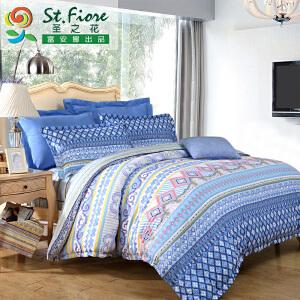 [当当自营]富安娜家纺纯棉四件套1.5米1.8米床时尚简约套件 威尼斯之夜 蓝色 1.8m