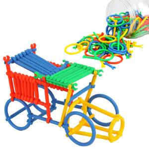 聪明智慧棒插管玩具 桶装塑料拼插积木 儿童益智玩具 3-7岁