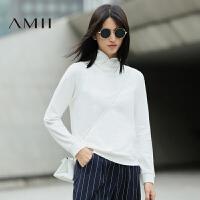 【AMII超级大牌日】[极简主义] 2016秋新款个性高领宽松大码显瘦套头长袖卫衣女