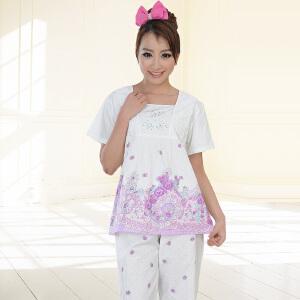 金丰田女士短袖睡衣套装 夏季纯棉蕾丝家居服五分裤全棉两件套