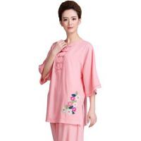夏季新款亚麻棉短袖太极服演出服表演服 女士刺绣练功服