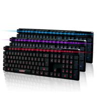黑爵机械战士 笔记本电脑外接游戏*三色背光键盘 lol有线夜光发光