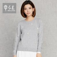 红莲 2015冬装新款女装圆领套头修身羊绒衫女长袖手工钉珠加厚毛衣