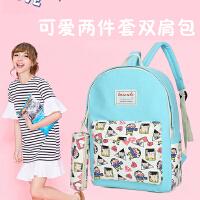 芭特莉【支持礼品卡支付】包女高中学生书包韩版帆布学院旅行包潮SD#8114