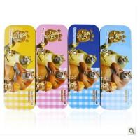 【源动力】多功能卡通双层铁制文具盒套装韩国可爱双层铅笔盒学生熊出没