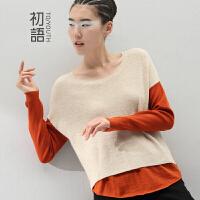 初语 2016冬装新款 拼色假两件套头长袖针织衫女毛衣女款韩版8440423091