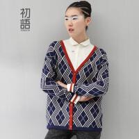 初语 2016冬季新款 撞色羊毛衫开衫修身毛衣女8430413051