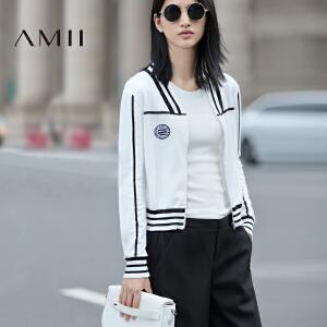【AMII超级大牌日】[极简主义]2017年春女运动风条纹立领长袖毛针织开衫外搭空调衣