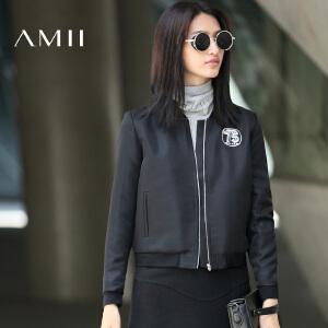 【AMII超级大牌日】[极简主义]2017年春新款绣花拉链大码宽松棒球短外套女11643073
