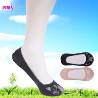 [2双装]内慧 女士袜子 蕾丝花边超薄纯棉芭蕾舞隐形袜/船袜 WQ1002