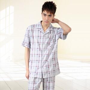 金丰田男士短袖睡衣 夏季男式格子家居服时尚套装1535