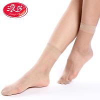 【5双装】浪莎袜子性感超薄脚尖加固透明水晶丝女士超透气短丝袜