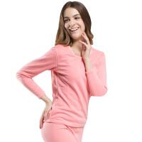 金丰田秋冬季男女士加绒加厚长袖纯色圆领保暖内衣套装J818