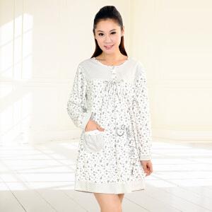 金丰田新款女士春秋长袖睡裙 可爱卡通短款睡裙1614
