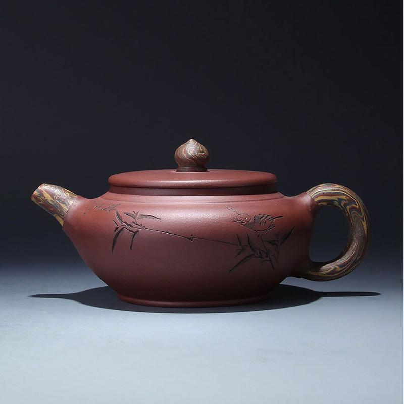 尚帝 手工制作 宜兴紫砂壶 150915-317dypg_红绞泥-笑樱壶